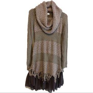 Anthropologie RYU cow neck sweater dress SM